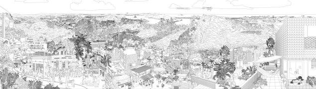 Panorama 40ft, completamente disegnato in CAD per la presentazione del progetto.  RUA Arquitetos.